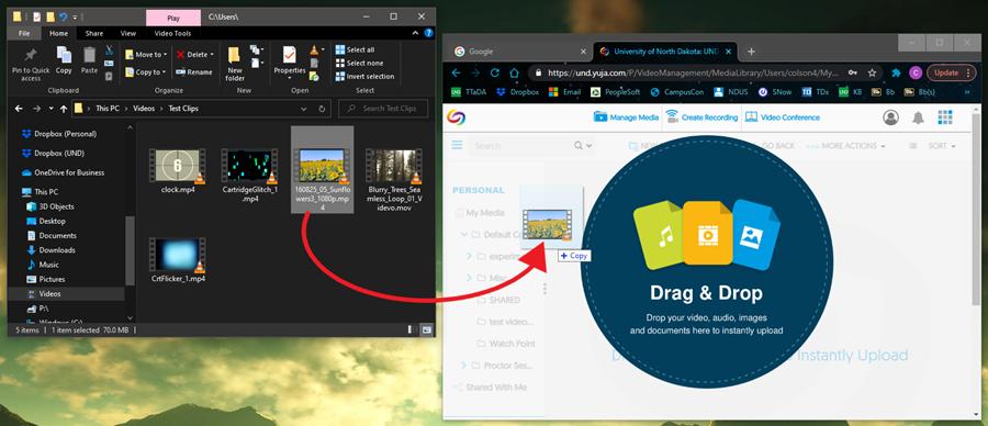 Screenshot: YuJa drag and drop menu
