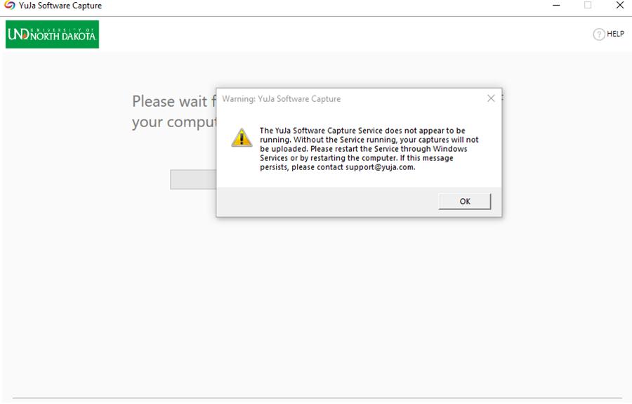 YuJa Software Capture Error Regarding Windows Services Not Running