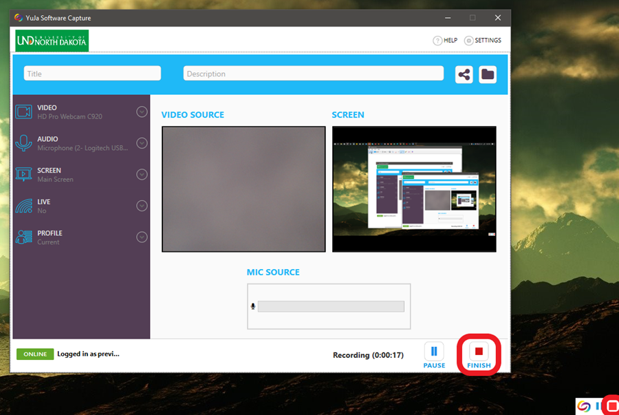 To stop recording, maximize the YuJa window and click 'Finish' -or- click the red square in the small YuJa menu in the bottom-right corner of your screen.