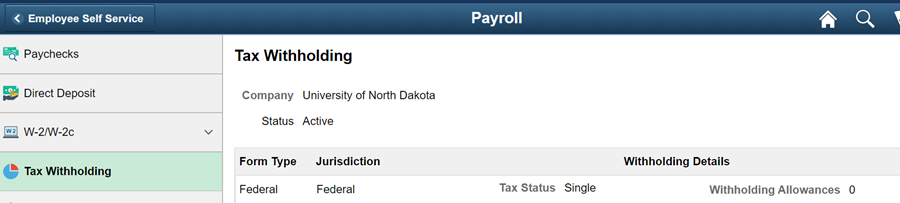Tax withholding web-page in Campus Connection