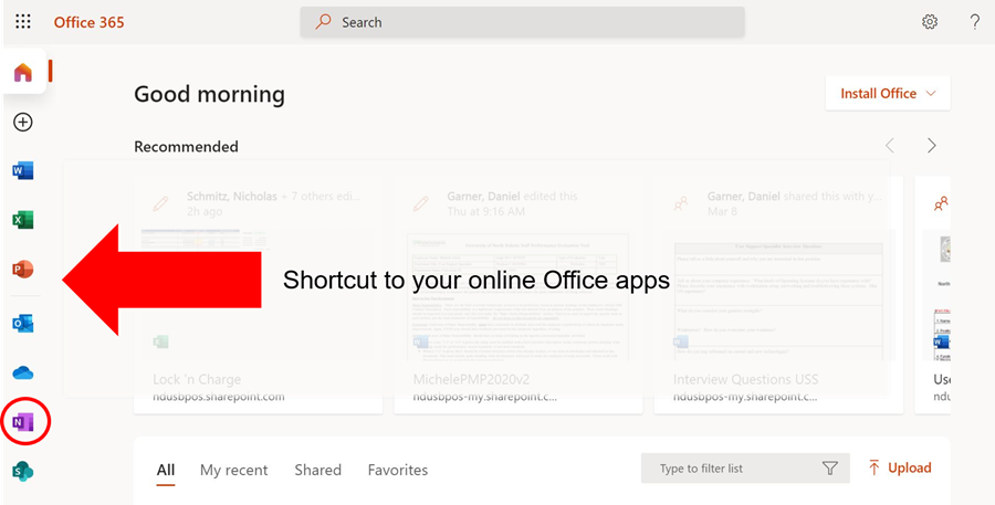 From the Office 365 welcome screen, select OneNotefrom the icons on the left.