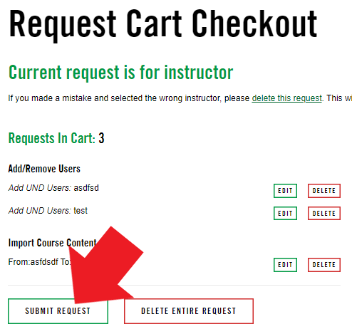 Screenshot: in the cart, select SUBMIT REQUEST to finalize the request