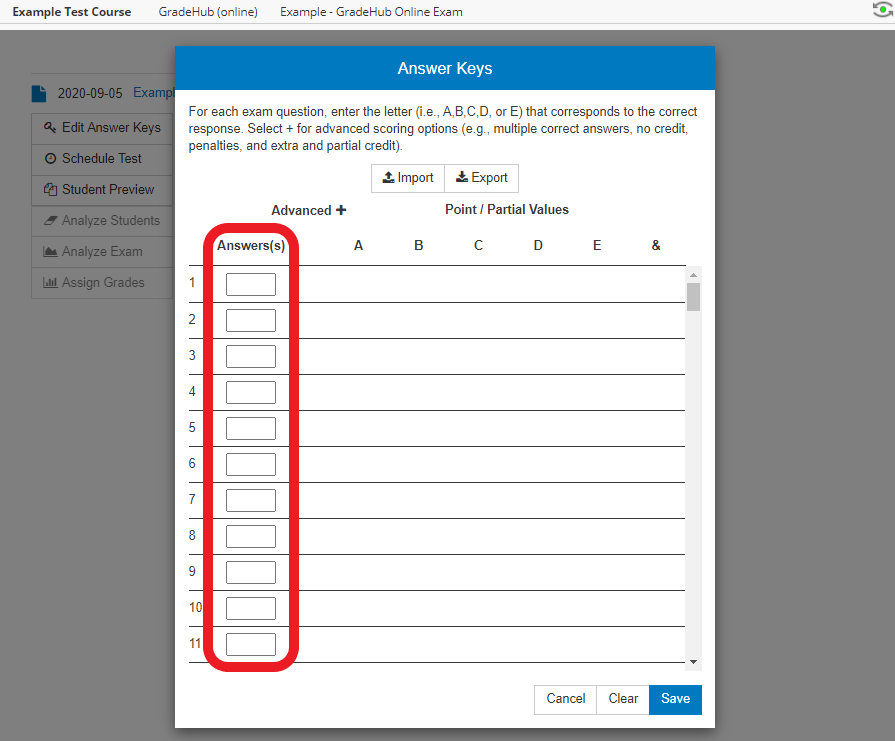 the 'Answer Keys' menu is opened - the menus and settings used for the next steps are available