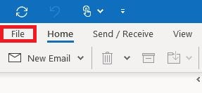 In Outlook, go to File in the top navigation and select Info on the left.