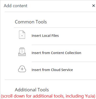 'Add Content' pop-up menu - choose a location