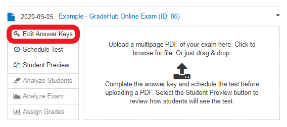in the expanded exam menu, click 'Edit Answer Keys'