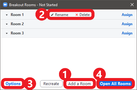 Screenshot of Zoom app: click 'Create' to open the breakout rooms menu, where hosts can edit breakout room settings.