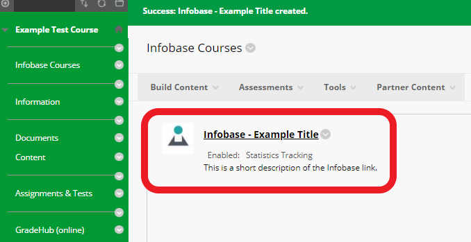 returned to course content area - click the Infobase link you just created to finish set up