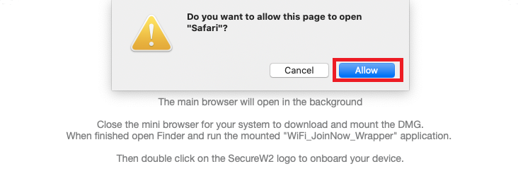 SelectAllowto open in the browser.