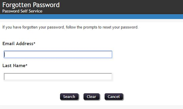 Enter your Email Address and Last Name, then click Search