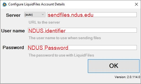Prompt to set up server, username, and password