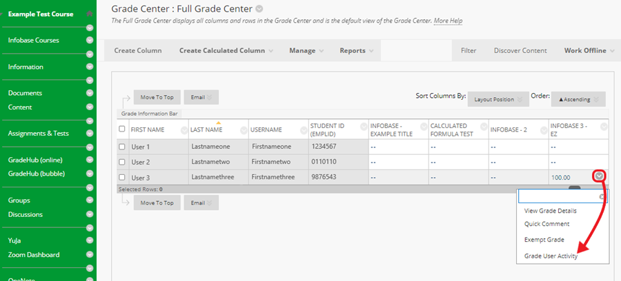 Open the Full Grade Center, click the chevron next to a score, and select 'Grade User Activity' from the drop-down menu.