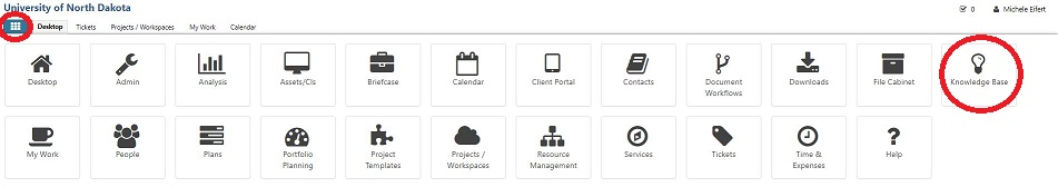 From your TeamDynamix (TSX) Desktop, navigate to and select Knowledge Base.