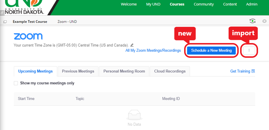 click 'Schedule a New Meeting' to create and link a new meeting -or- click '⋮' to link an existing meeting