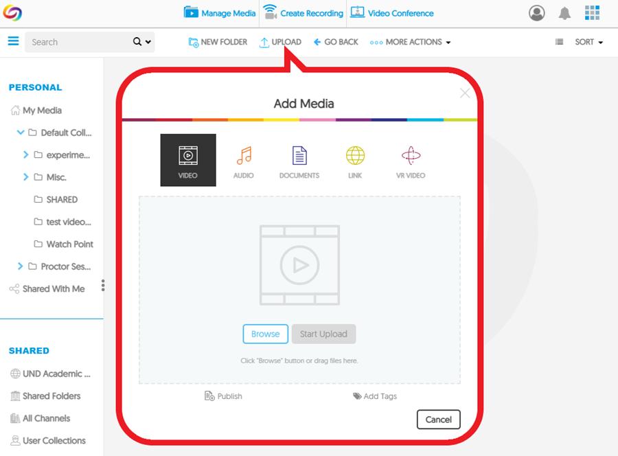 Screenshot: YuJa add media menu