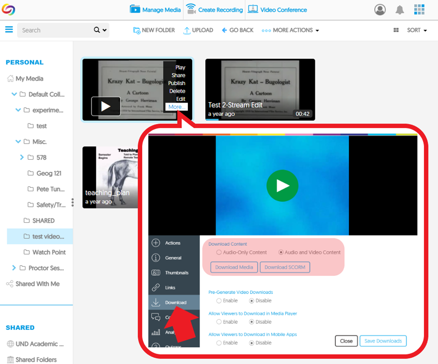 Screenshot: YuJa download menu with format options - CAPTURED MEDIA