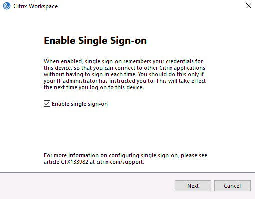 Make a selection for Enable Single Sign-On and click Next.