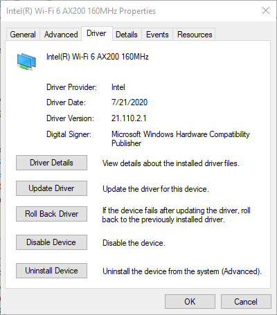 Double click your device and select the Driver tab. Note the driver date and version. If its not dated for at lease in 2020 you will need to update it.