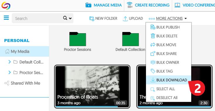 click MORE ACTIONS menu, then select BULK DOWNLOAD