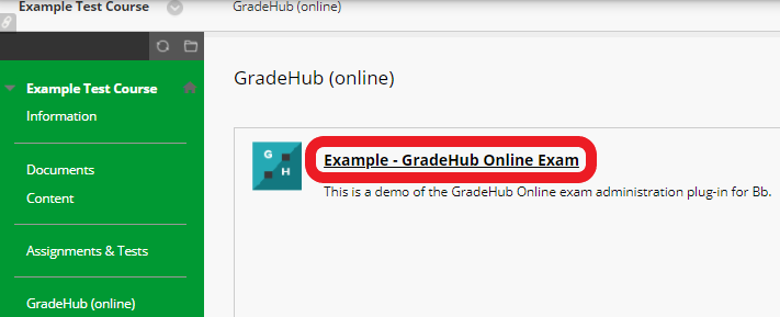 Locate the exam in the Bb course content area and click the exam title.