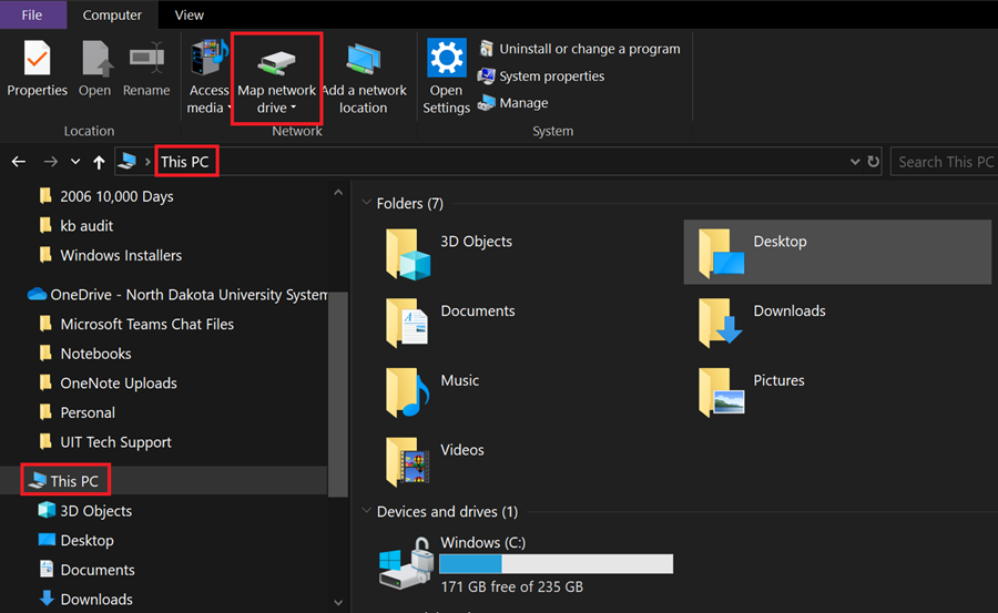 File Explorer showing This PC with the Map Network Drive button.