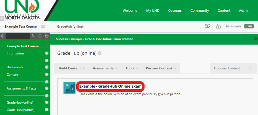in your Bb course site, click the title of the exam link you just created