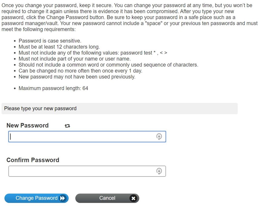 Now follow the rules to create your password. Then confirm your password.