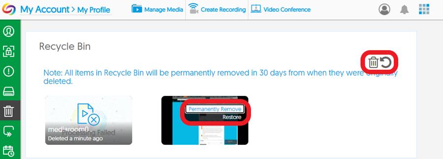 Screenshot: YuJa Recycle Bin > Restore or Delete menu