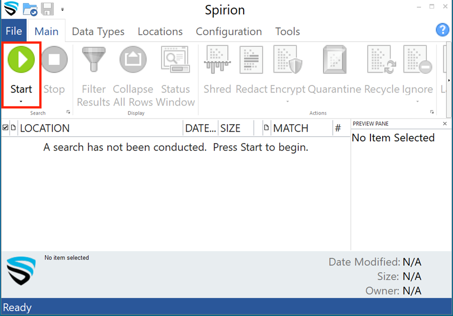 To begin a scan, click the green start button located in the upper left corner of the application window.
