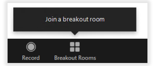 Screenshot of Zoom app: participants will be prompted to join a breakout room.