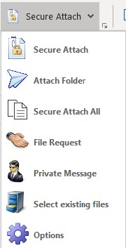Outlook's Secure Attach option menu