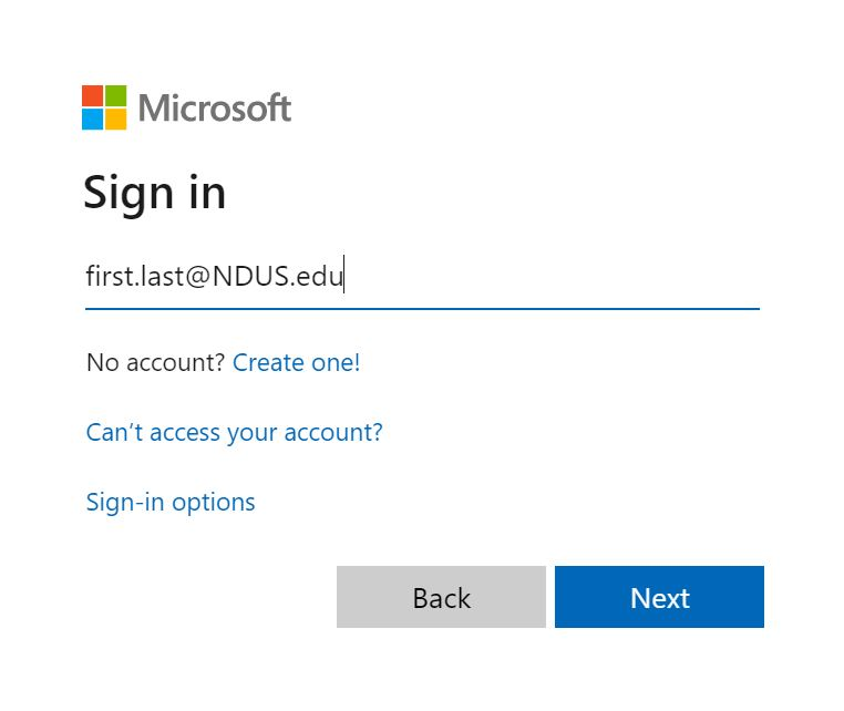 The email login page is: http://mail.office365.com. Your username is your NDUS.identifier and @NDUS.edu.