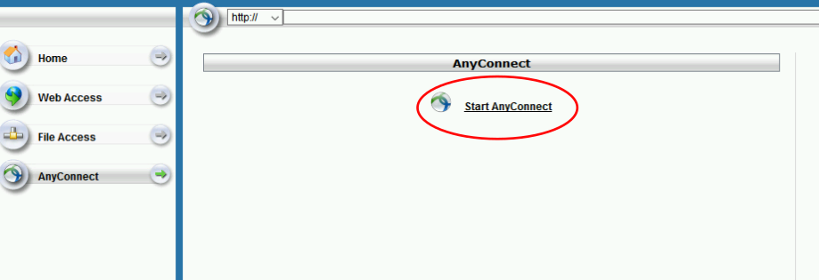 Click Start AnyConnect to go to the download page for the VPN Client.
