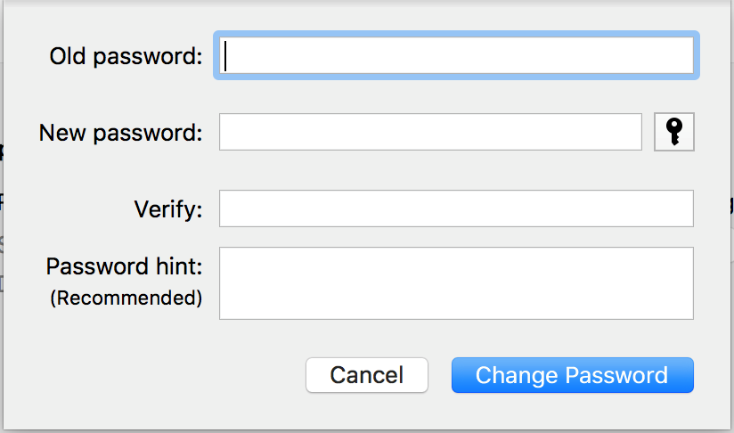 Enter your current password in the Old Password field.