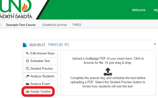 In the GradeHub Online exam's main menu, click 'Assign Grades' to process the results and send to Bb Grade Center.