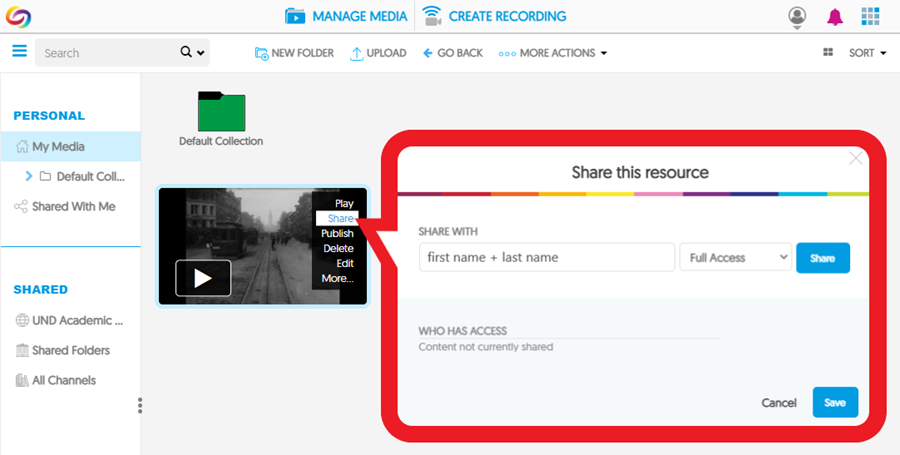 On your 'My Media' page, find the video, hover over it and select 'Share', then enter a user and select the level of access you'd like to grant. Click 'Share' – then you can add more users or click 'Save' to complete the process.