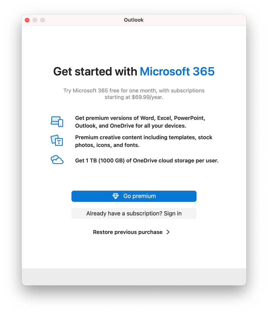 If its your first time launching any Microsoft 365 app on this computer, you'll see the Get started with Microsoft 365window. Click theAlready have a subscription? Sign inbutton.