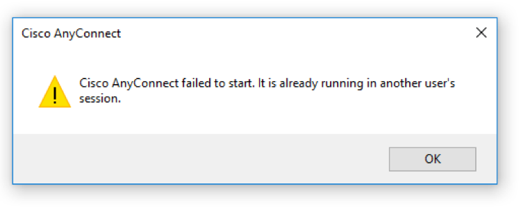 A messagebox that reads 'Cisco AnyConect failed to start. It is already running in another user's session.'