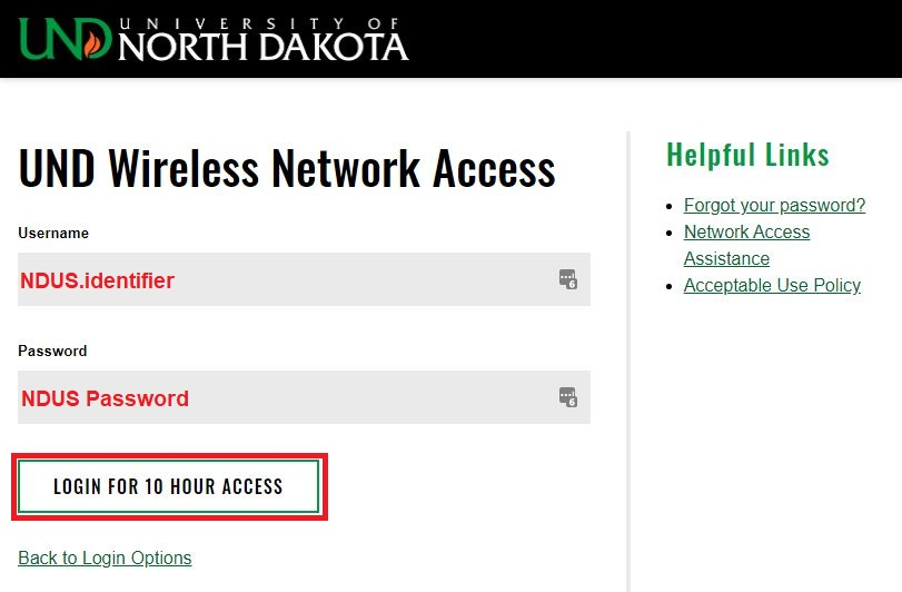 Enter your NDUScredentials, followed by pressing the Loginfor 10 Hour Access button.