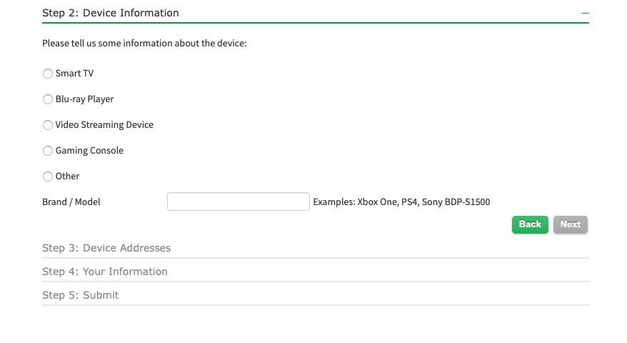 Step 2: Device Information