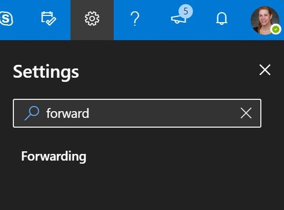 Type forward into the settings bar