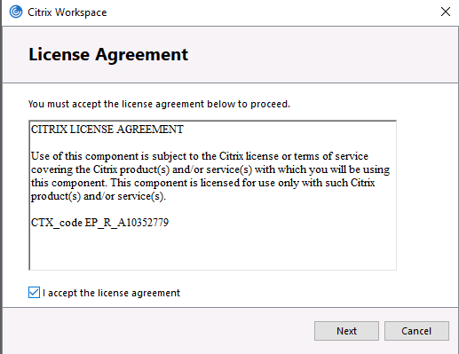 Accept the license agreement and click Next.