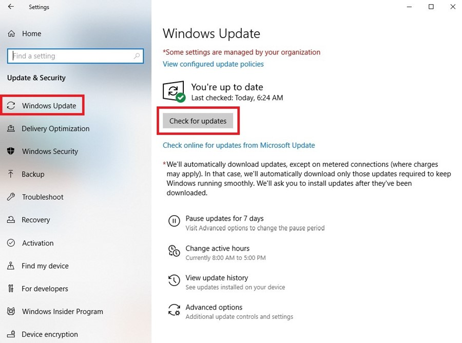 Windows Update, Check for updates