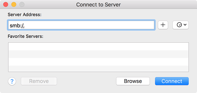 Mac Connect to Server window.
