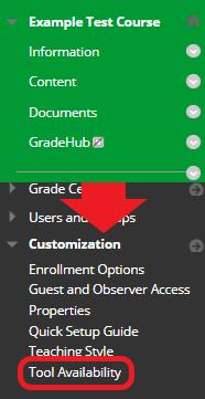 Bb Course Menu > Control Panel > Customization > Tool Availability