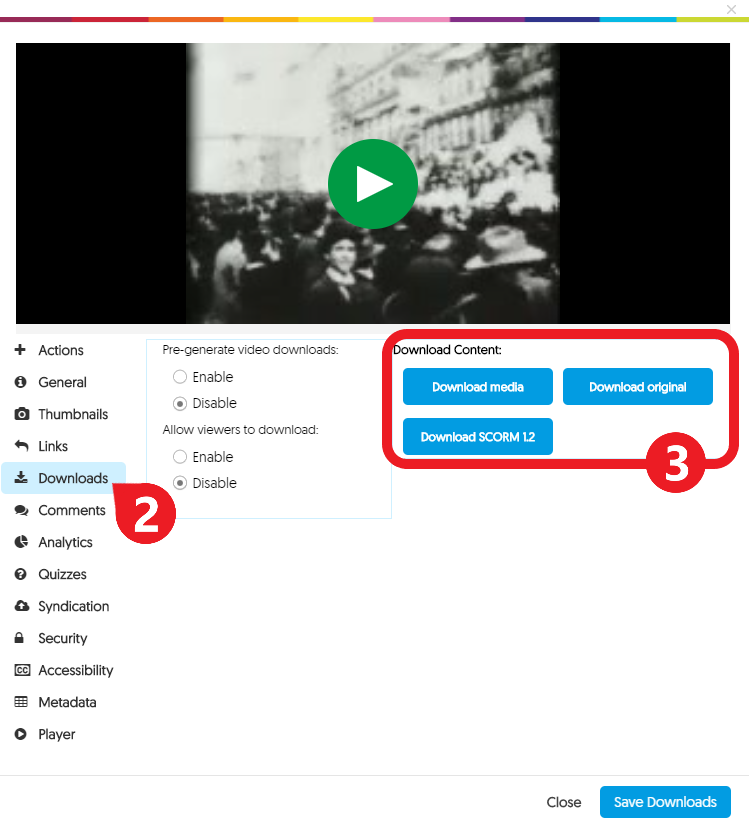 click Downloads (in the menu on the left), then select a file type to download
