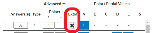 example of an extra credit question - the extra credit point value is entered into the question/answer's corresponding 'Extra' column/box