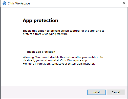 The Workspace app offers a feature called App Protection, which can increase privacy from certain kinds of malware. ClickInstallafter making your selection
