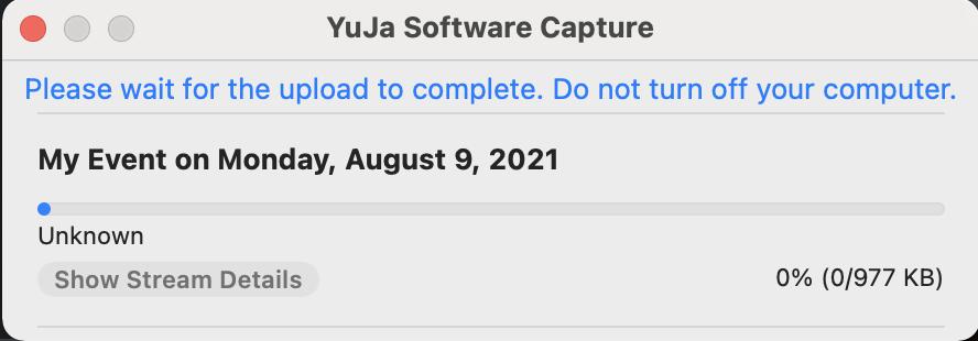 YuJa Mac proctor recording upload queue example