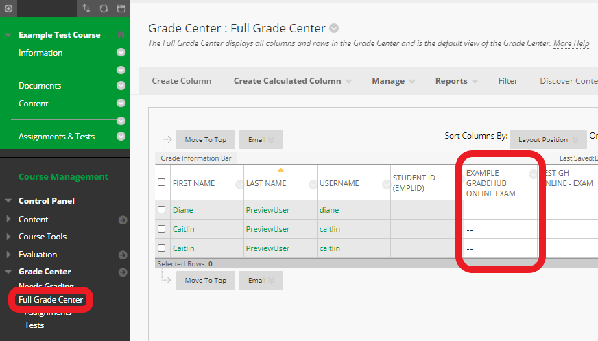results sync with the exam's column in the Bb Grade Center
